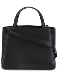 Valextra Double Handles Tote Women Calf Leather Leather One Size Black