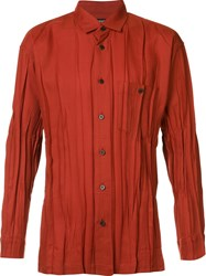 Issey Miyake Men Pleated Shirt Red