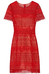 Marchesa Notte Guipure Lace Mini Dress Red