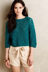 La Fee Verte Citrine Open Stitch Pullover Green