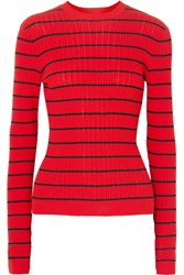 Sonia Rykiel Striped Ribbed Knit Wool Blend Sweater Red