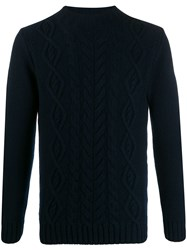 Tagliatore Cable Knit Jumper Blue