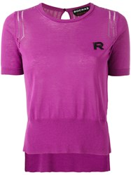 Rochas Embroidered R Jumper Pink Purple