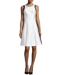 Rickie Freeman For Teri Jon Beaded Neck Colorblock Fit And Flare Cocktail Dress White Black