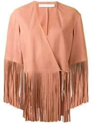 Drome Fringed Jacket Pink Purple
