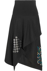 J.W.Anderson Asymmetric Embellished Boiled Wool Midi Skirt Black