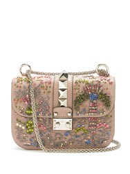 Valentino Lock Small Embellished Shoulder Bag Nude Multi