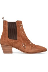 Maje Studded Suede Ankle Boots Camel