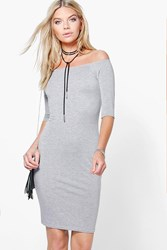 Boohoo Summer 3 4 Sleeve Bodycon Dress Grey Marl