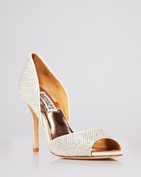 Badgley Mischka Open Toe D'orsay Evening Pumps Mitsey Rhinestone Stud High Heel Ivory