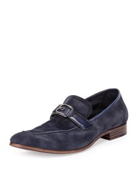 Berluti B Volute Suede And Leather Loafer Navy