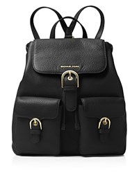 Michael Michael Kors Cooper Flap Large Pebbled Leather Backpack Black Gold