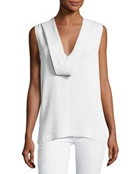 Theory Salvatill Sleeveless Classic Georgette Top Ivory