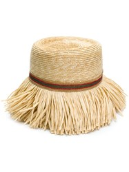 Ermanno Scervino Fringed Woven Hat Nude And Neutrals