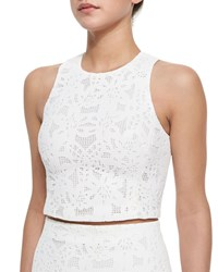 Rebecca Taylor Netted Lace Sleeveless Crop Top White