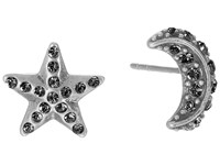 Marc Jacobs Moon And Star Studs Earrings Black Diamond Antique Silver