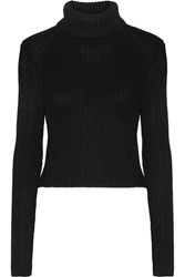 Alice Olivia Sierra Ribbed Stretch Knit Turtleneck Sweater Black