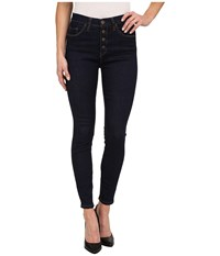 Blank Nyc High Rise With Buttons Skinny In Denim Blue Denim Blue Women's Jeans