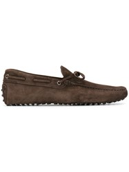 Tod's Bow Suede Loafers Men Leather Suede Rubber 8 Brown