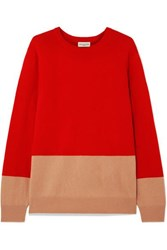 Dries Van Noten Two Tone Cashmere Sweater Red