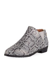 Gentle Souls Neptune Flat Embossed Leather Chelsea Booties Pewter