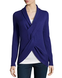 Neiman Marcus Cashmere Knot Front Sweater Purple