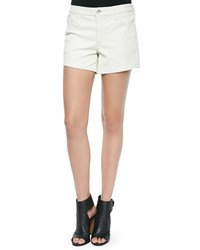 Iro Woven Leather Braided Detail Shorts White