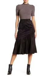 Insight Faux Suede Midi Skirt Black
