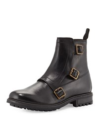 Ben Sherman Derby Buckle Leather Boot Black
