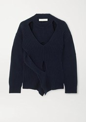Dion Lee Cutout Wool And Cashmere Blend Sweater Navy