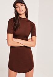 Missguided Short Sleeve Curve Hem Bodycon Dress Burgandy Grey