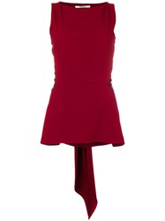 Chalayan Satin Tie Back Blouse Acetate Viscose Crepe Red