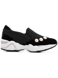Suecomma Bonnie Faux Pearl Embellished Sneakers Black