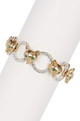 Betsey Johnson Fox And Pave Ring Link Bracelet Green