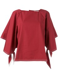 Chloe Sailor Tie Sleeve Blouse Red