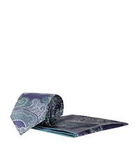 Brioni Paisley Print Tie And Handkerchief Set Unisex Blue
