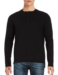 Kenneth Cole Cotton Blend Henley Tee Black