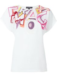 Salvatore Ferragamo Embroidered Letters T Shirt White
