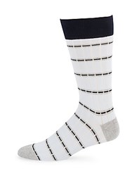 Saks Fifth Avenue Made In Italy Tonal Striped Stretchable Socks White