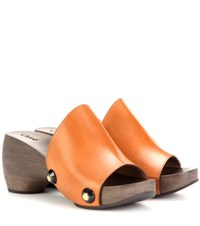 Chloe Leather Platform Clogs Brown