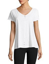Ivanka Trump Striped V Neck Tee White