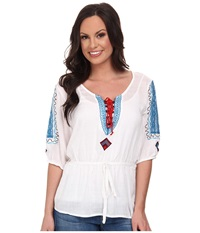 Cruel Rayon Cross Hatch Tunic Peasant Top Self Belt Lace Piecing Contrast Stitching And Embroidery White Women's Blouse
