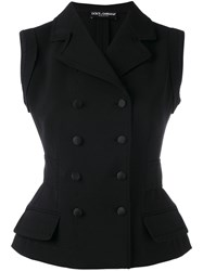 Dolce And Gabbana Tailored Waistcoat Women Silk Nylon Spandex Elastane Virgin Wool 40 Black