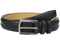 Cole Haan 30Mm Feather Edge Stitched Strap With Perforation And Overlay Detail Black Men's Belts