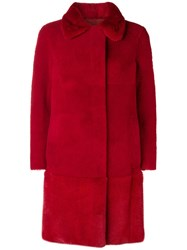 Blancha Single Breasted Fur Coat Red