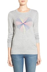 Women's Halogen Embroidered Crewneck Sweater Grey Heart Pattern