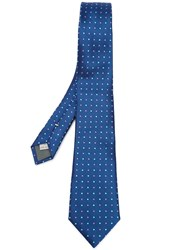 Canali Woven Polka Dot Tie Blue