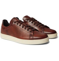 Tom Ford Warwick Perforated Leather Sneakers Brown