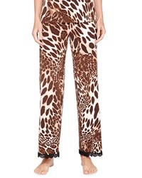 Josie Natori Lace Trimmed Animal Print Pants Natural Brown