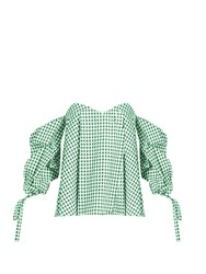 Caroline Constas Gabriella Off The Shoulder Gingham Top Green White